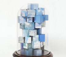 Cluster of Ideas, Transformation, 2010, hand cut paper cubes & blown glass, 41 x 30.5 cm