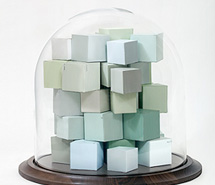 Cluster of Ideas, Solitude, 2010, hand cut paper cubes & blown glass, 30 x 30 cm
