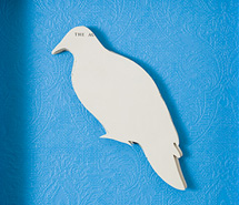 Silent Gathering, Bronze Winged Pigeon, 2009, hand cut paper & wallpaper, 31 x 30 cm