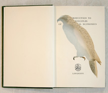 An Introduction to the principals of agricultural economics/Wedge Tail Eagle, 2009, hand carved found book, created as part of a 12 piece book series for Emirates, Wolgan Valley Spa & Resort